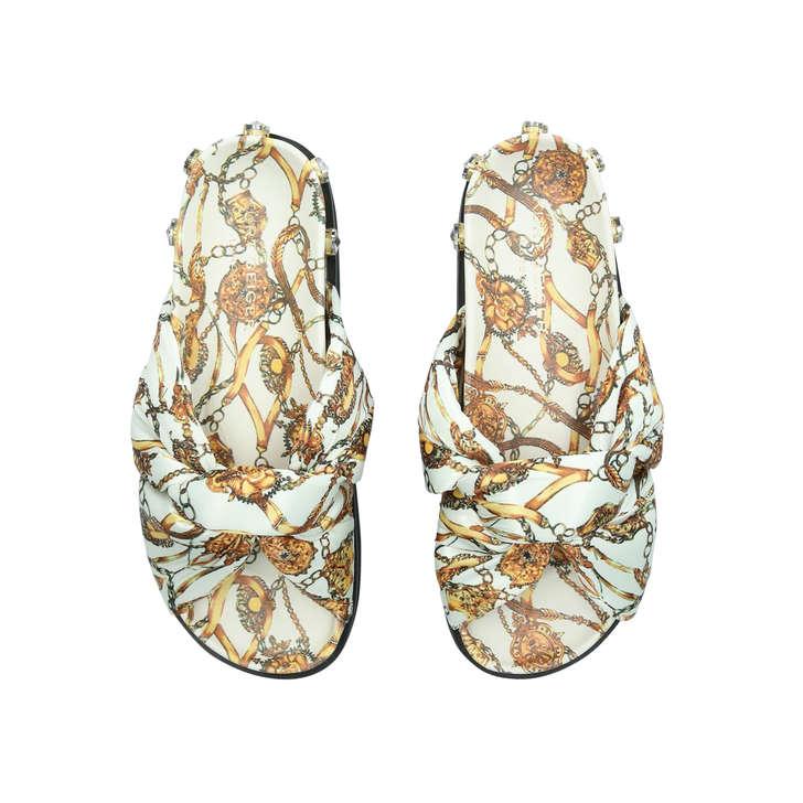 Marello White Fabric Studded Sliders By Kurt Geiger London