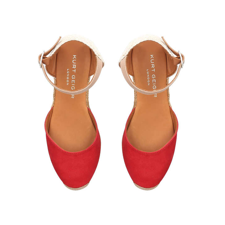 5909a61c59c Minty Red Suede Espadrille Wedge Sandals By Kurt Geiger London ...