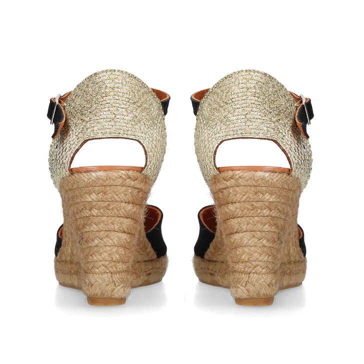 66e4243982 Monty Black Espadrille Wedge Sandals By Kurt Geiger London   Kurt Geiger