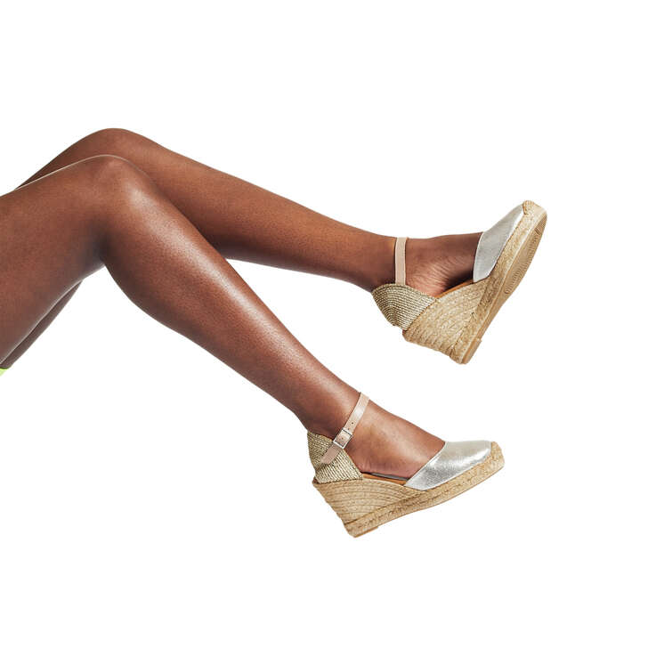 f9b2ffb6b4e Monty Metallic Gold Espadrille Wedge Sandals By Kurt Geiger London ...