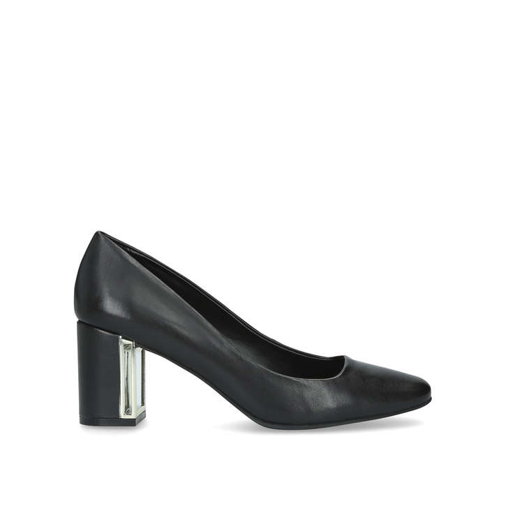 f030e7b9cade Gigi Black Leather Block Heel Court Shoes By DKNY