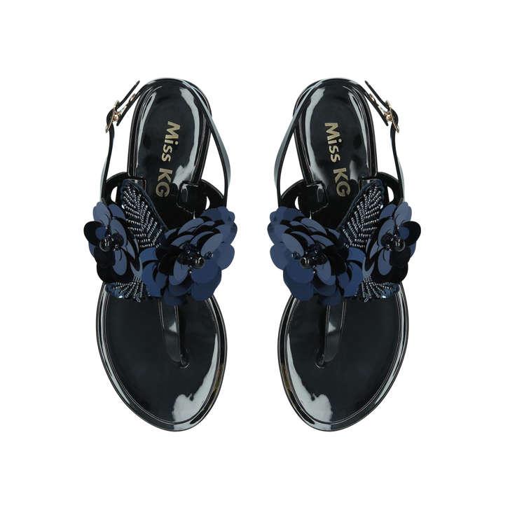fefbc9b55 Dora Black Embellished Jelly Sandals By Miss KG