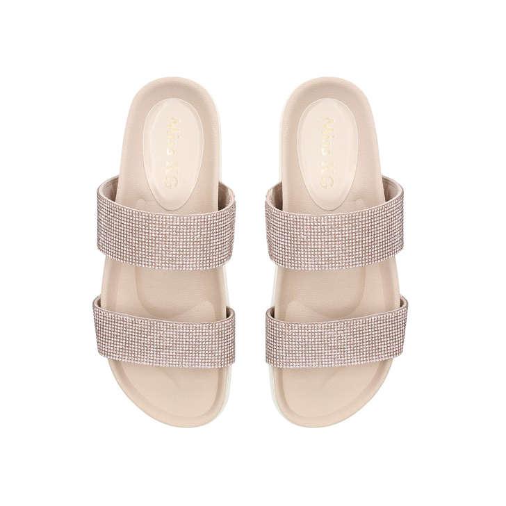 417b98794d3 Dulcie Nude Suedette Embellished Flat Sandals By Miss KG