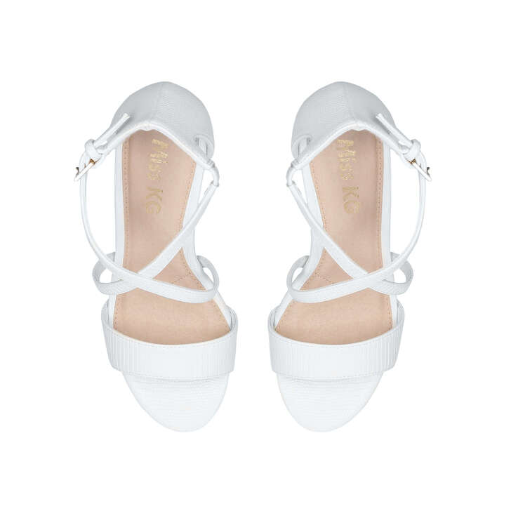 7466afc7cac Phoenix White Block Heel Sandals By Miss KG