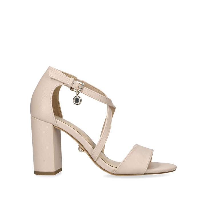 PHOENIX Nude Block Heel Sandals by MISS KG | Kurt Geiger