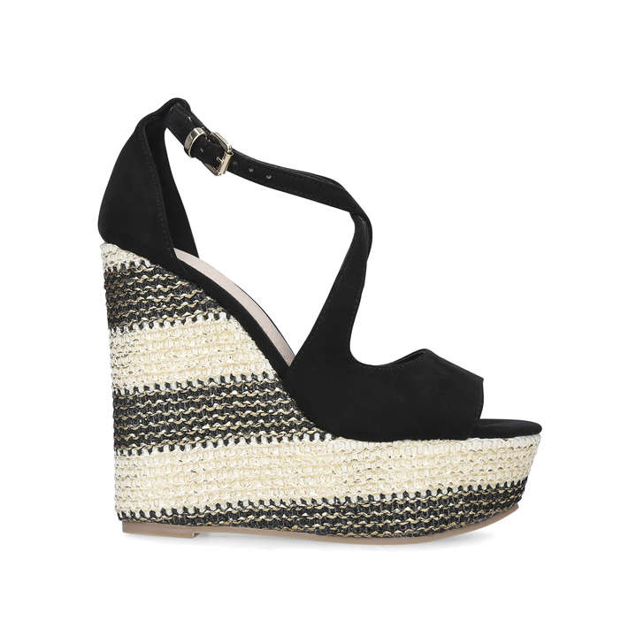39b05575fd8 Ziggy Black Suedette Espadrille Wedge Sandals By Miss KG | Kurt Geiger