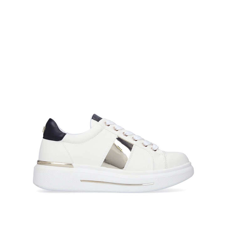 JUBILATE White Lace Up Chunky Sneakers