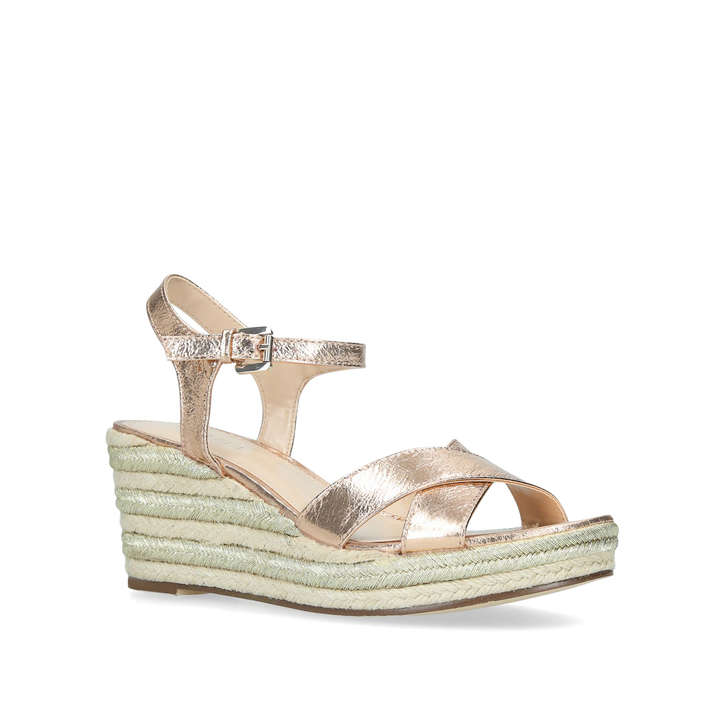 14214ad58bb Swoon Rose Gold Espadrille Wedge Sandals By Carvela