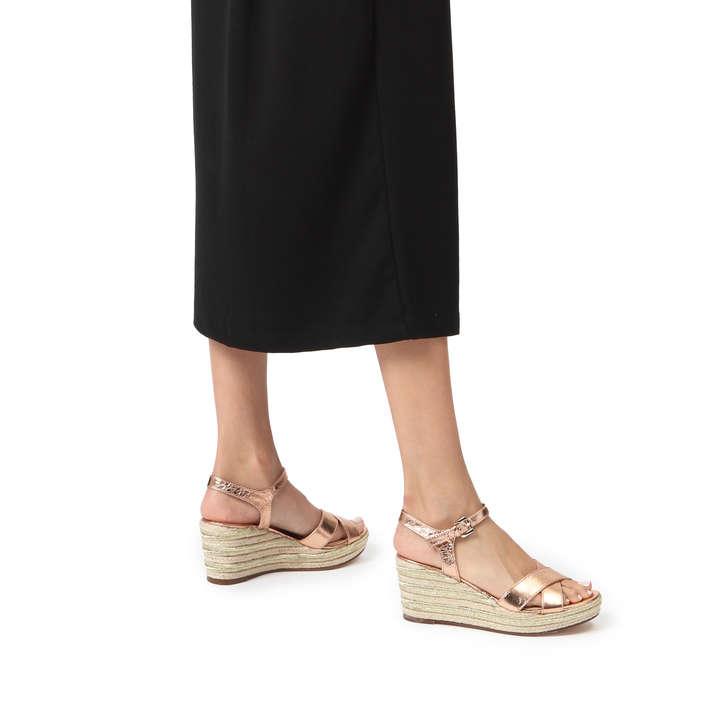 5c8c79590a3 Swoon Rose Gold Espadrille Wedge Sandals By Carvela | Kurt Geiger
