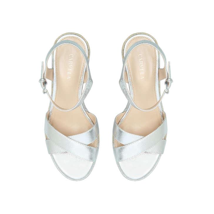 ff775d65681 Swoon Silver Espadrille Wedge Sandals By Carvela | Kurt Geiger