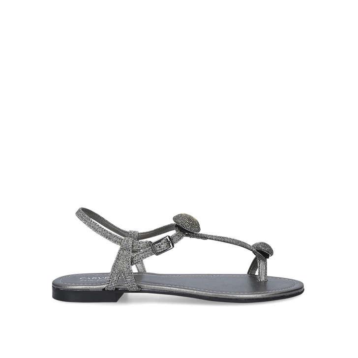 1e33629f6 Sky Metallic Flat Sandals By Carvela Comfort | Kurt Geiger