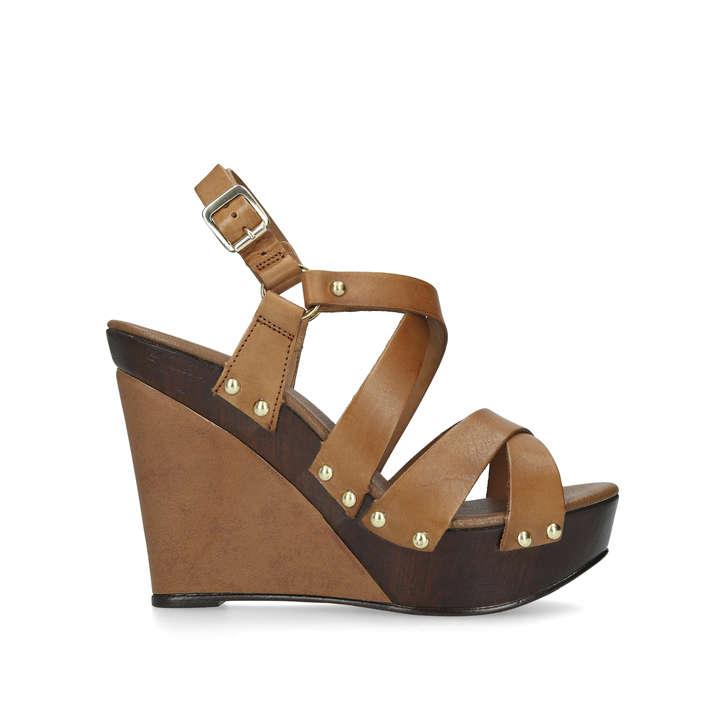 Kassandra Tan Sandals Heel Leather Wedge By Geiger High CarvelaKurt 0wmn8N