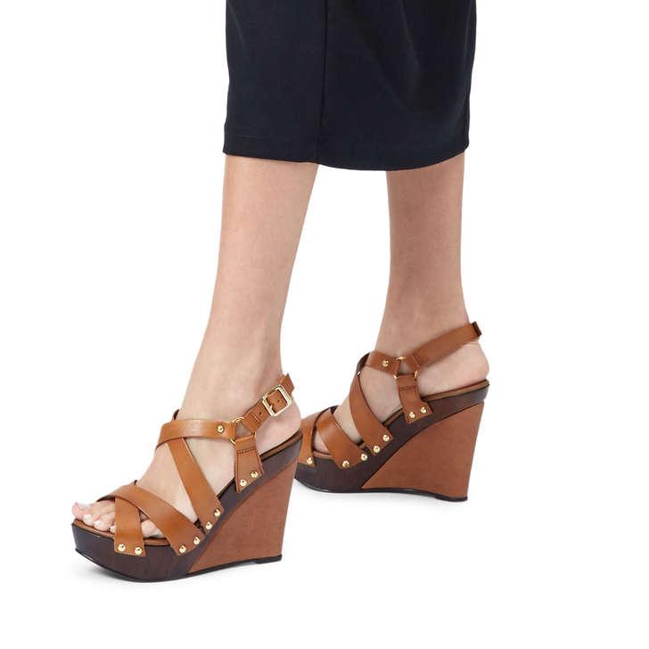 ba1a2762ec Kassandra Tan Leather High Heel Wedge Sandals By Carvela   Kurt Geiger