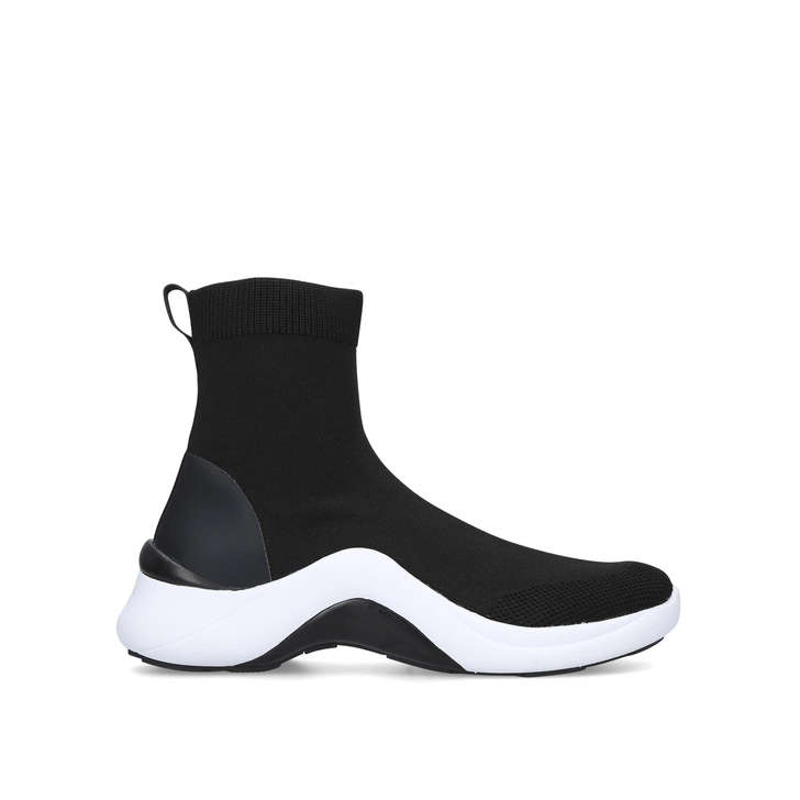 Garevia Black Slip On Sock Trainers By