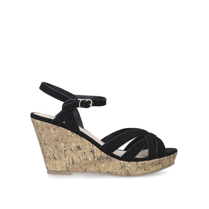 PARISIAN Black Cork Wedge Heel Sandals