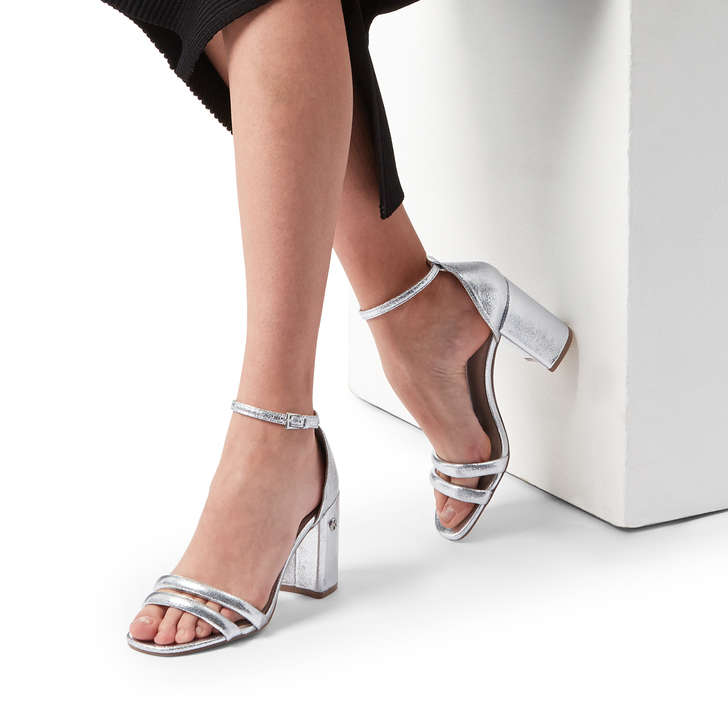 ca239995493 Frankie Metallic Silver Block Heel Sandals By KG Kurt Geiger