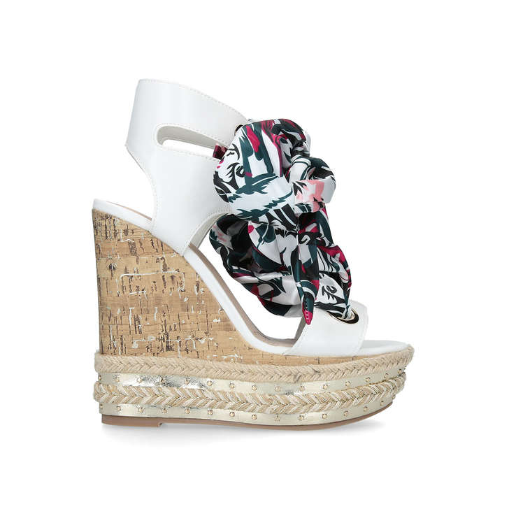 20029ad61a10 Rosa High Heel Wedge Sandals With Floral Ties By KG Kurt Geiger ...