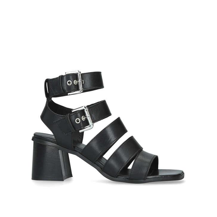 d05502a51f87 Astute Black Leather Flared Heel Sandals By Carvela