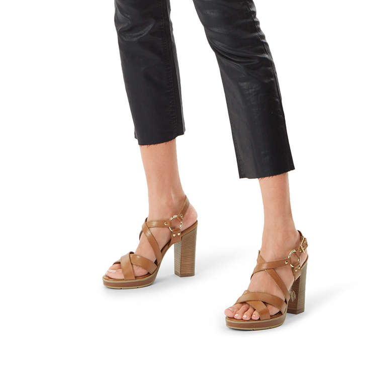 Karmen Tan Block Heel Strappy Sandals By Carvela Kurt Geiger