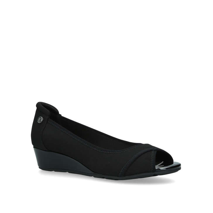 64dfe240adc80 Corner Black Wedge Peep Toe Sandals By Anne Klein | Kurt Geiger