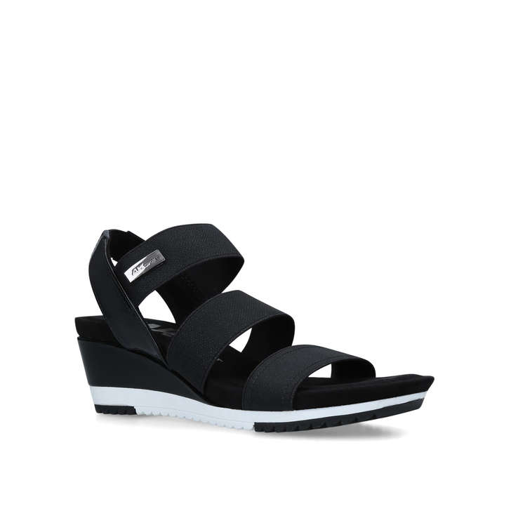 58bf0dcb4d0ec Summertime Black Open Toe Wedge Heel Sandals By Anne Klein | Kurt Geiger