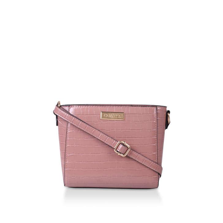 BODY Pink Croc Effect Cross Body Bag