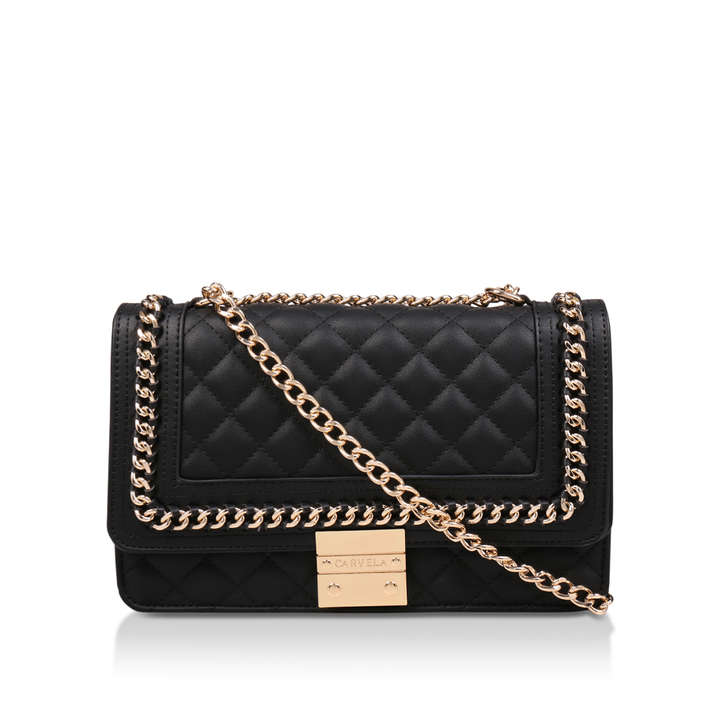 77008ca2523 Large Bailey Chain Bag Black Quilted Chain Shoulder Bag By Carvela ...