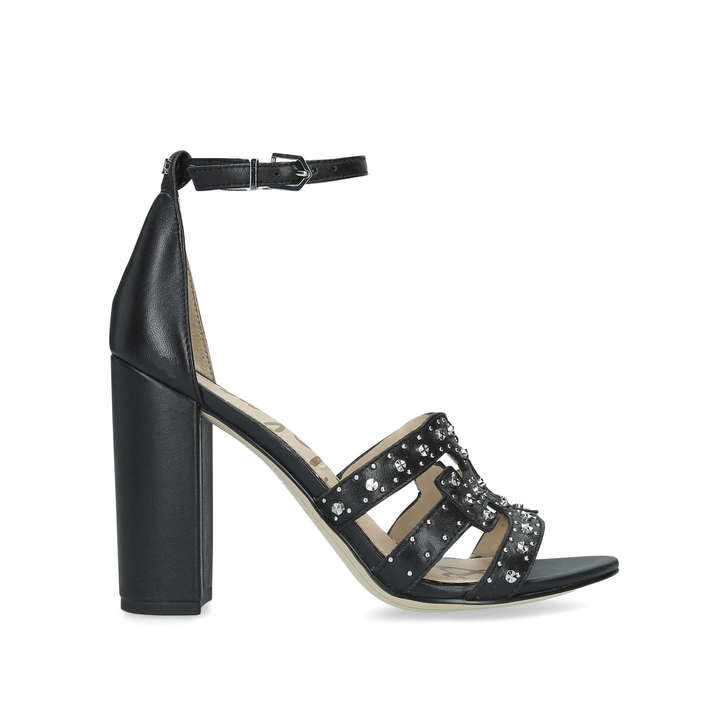 2e381a956 Yasha Black Leather Studded Heeled Sandals By Sam Edelman