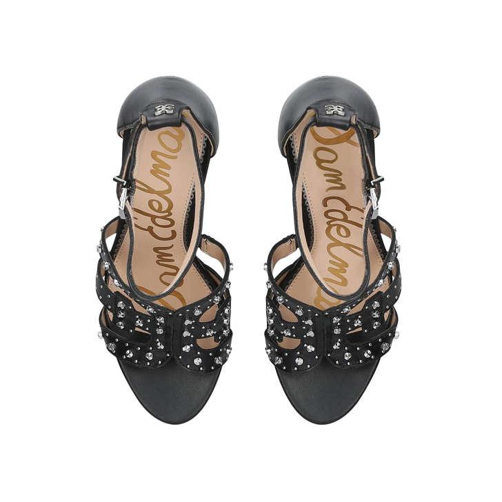 8dacdb1b504 Yasha Black Leather Studded Heeled Sandals By Sam Edelman