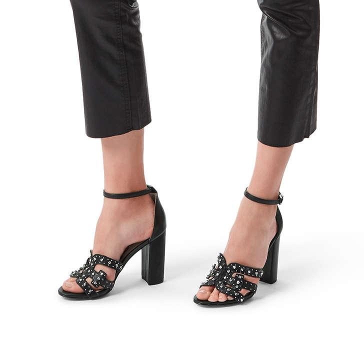 59f9b92a0 Yasha Black Leather Studded Heeled Sandals By Sam Edelman