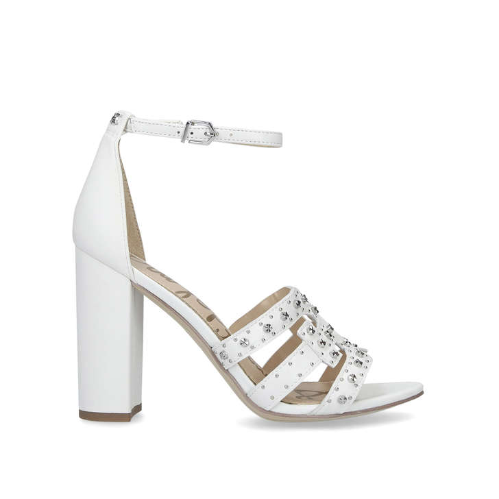 509c9df9c Yasha White Leather Studded Heeled Sandals By Sam Edelman