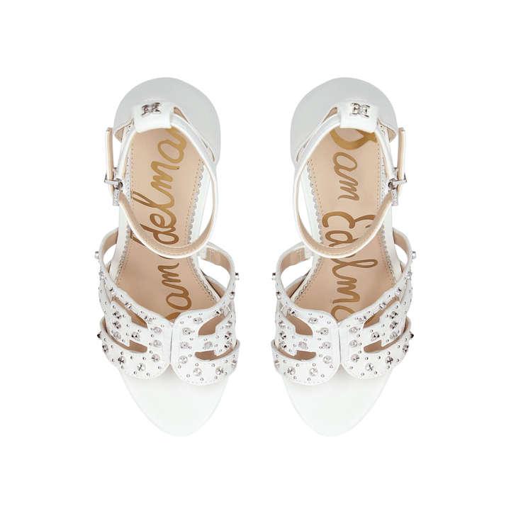 cc9a72176 Yasha White Leather Studded Heeled Sandals By Sam Edelman
