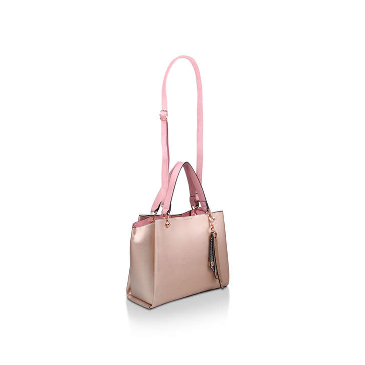 d5ea001b23a Nusz Metallic Pink Tote Bag With Detachable Charm By Aldo