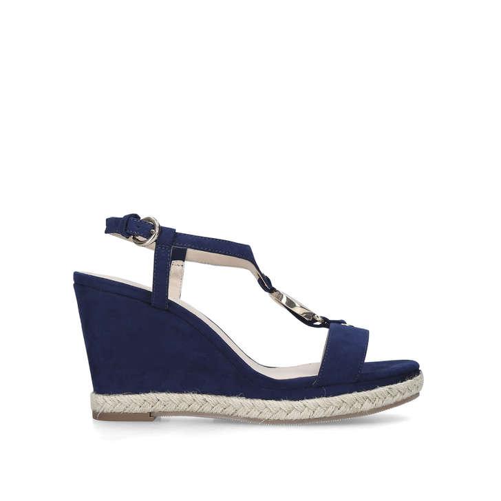 GLAZE Navy Patent Wedge Heel Sandals by
