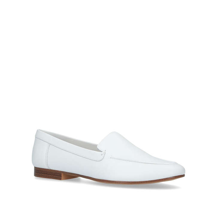 0ee51c7cc5 Joeya White Leather Flat Loafers By Aldo