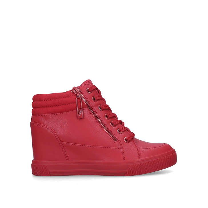 4a3a7609bf39 Aeladda Red High Top Wedge Trainers By Aldo