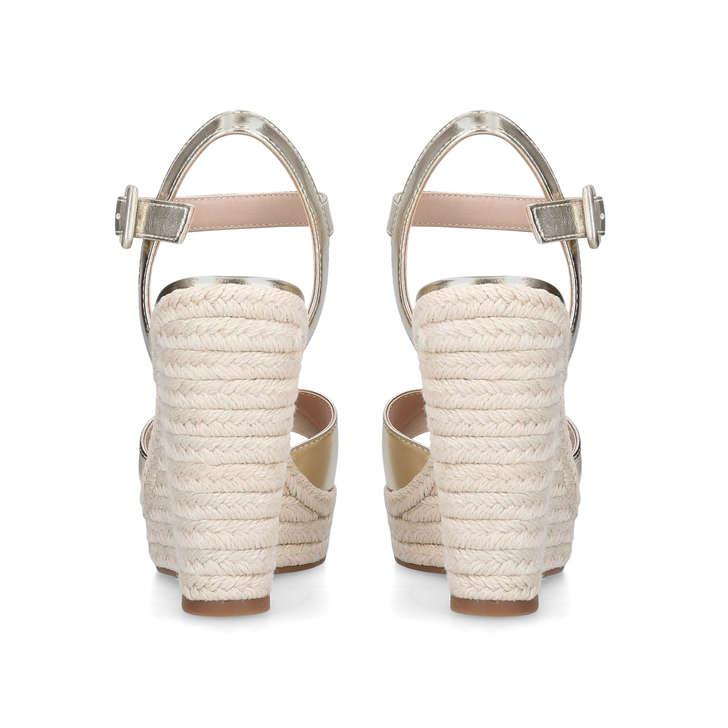 cf6cf659354 YBELANI Gold High Heel Wedge Sandals by ALDO