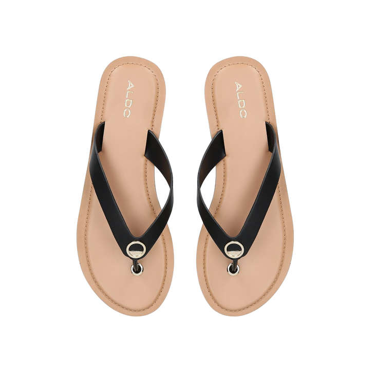 b18b3fcaf9e Lascala Black Flat Sandals By Aldo