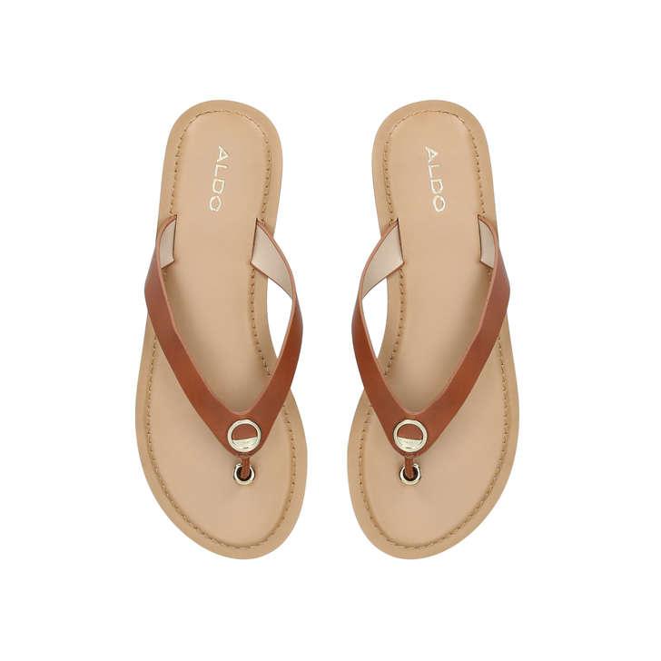 de05b0183aa Lascala Brown Flat Sandals By Aldo