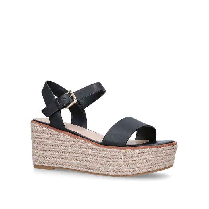 f45342574e6e Erani Black Leather Espadrille Wedge Sandals