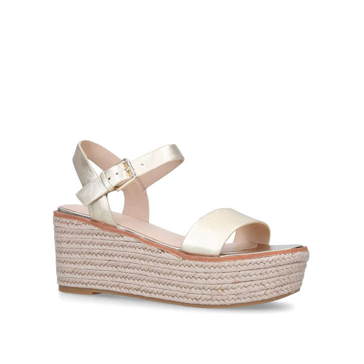 Erani Gold Leather Espadrille Wedge Flatform Sandals By Aldo