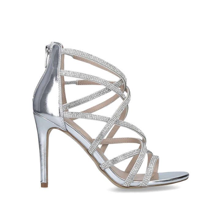 e9db4f22a32 Meraerka Silver Embellished High Heel Sandals By Aldo