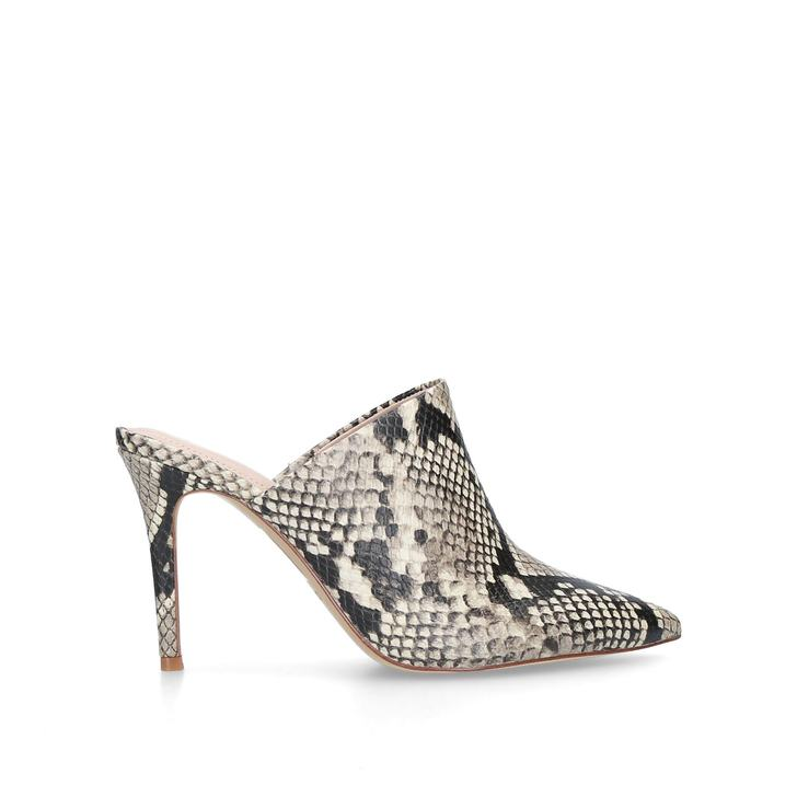 44011e60be7 Mirudien Snake Print Backless Stiletto Heel Mules By Aldo