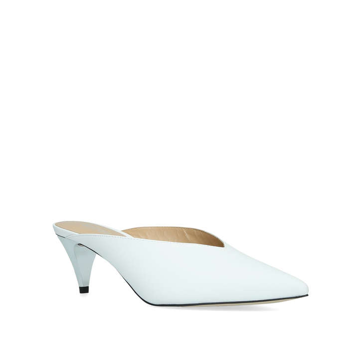 cc92787162e0 Cambria Mule White Leather High Vamp Court Shoes By Michael Michael Kors