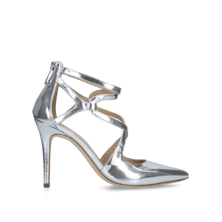 b9a1094a2751 Catia Pump Metallic Silver Patent Stiletto Heel Shoes By Michael Michael  Kors
