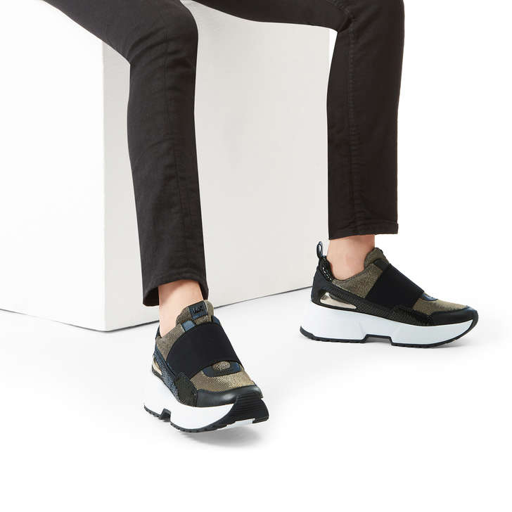 90e03a6b88369 Cosmo Slip On Black Low Top Slip On Trainers By Michael Michael Kors ...