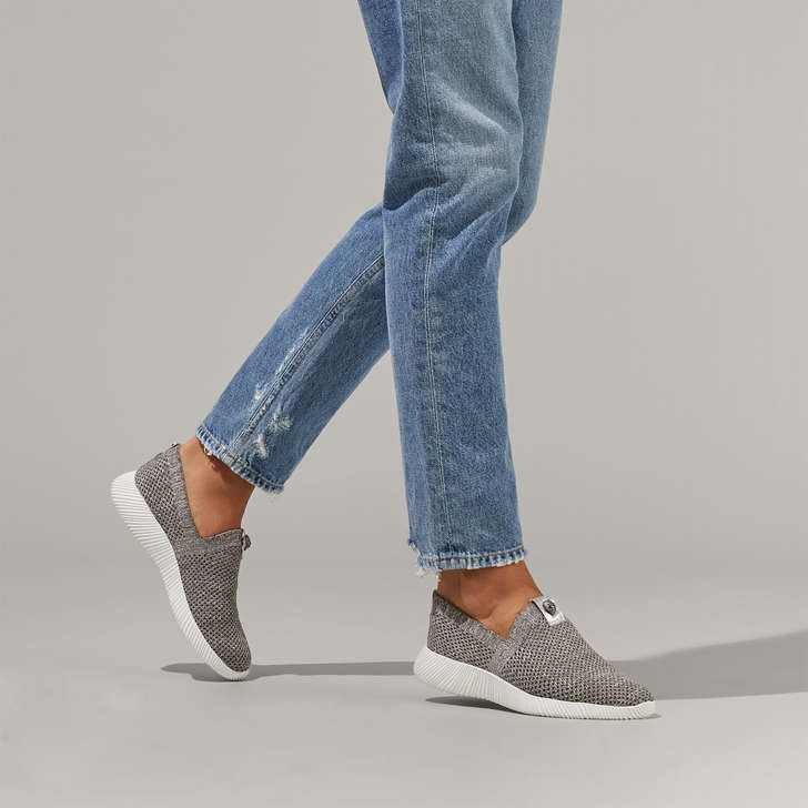 Lorna Grey Knitted Slip On Sneakers By
