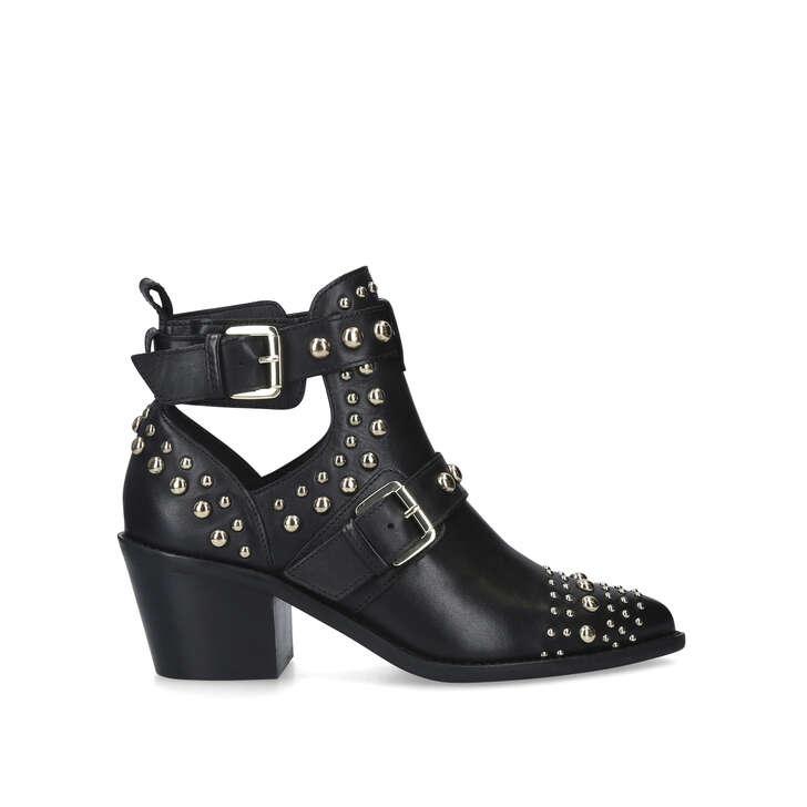 SYBIL Black Studded Block Heel Ankle