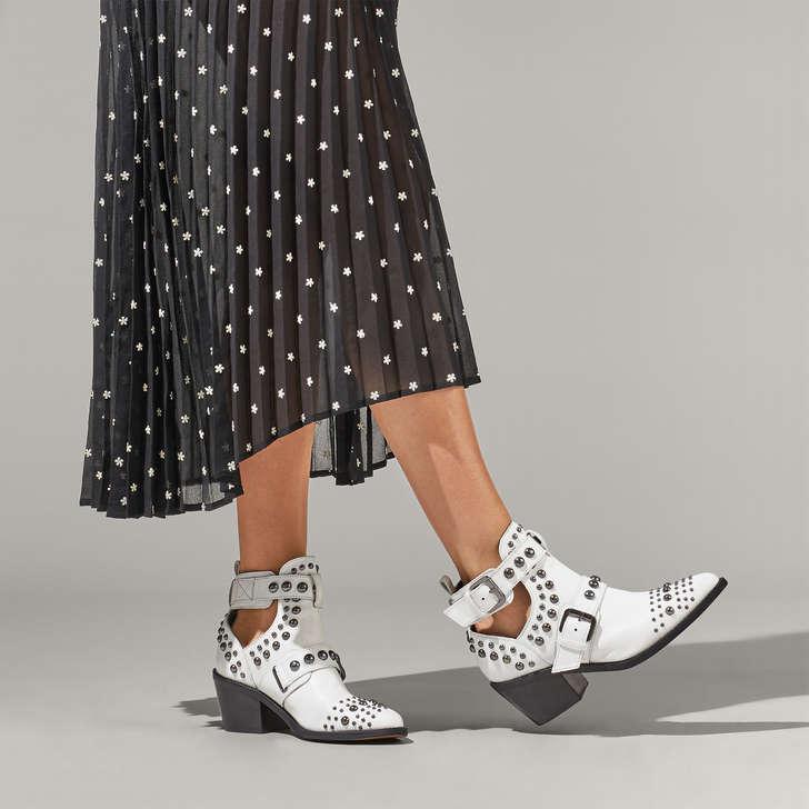 493b8978a70d3 Sybil White Studded Block Heel Ankle Boots By Kurt Geiger London | Kurt  Geiger