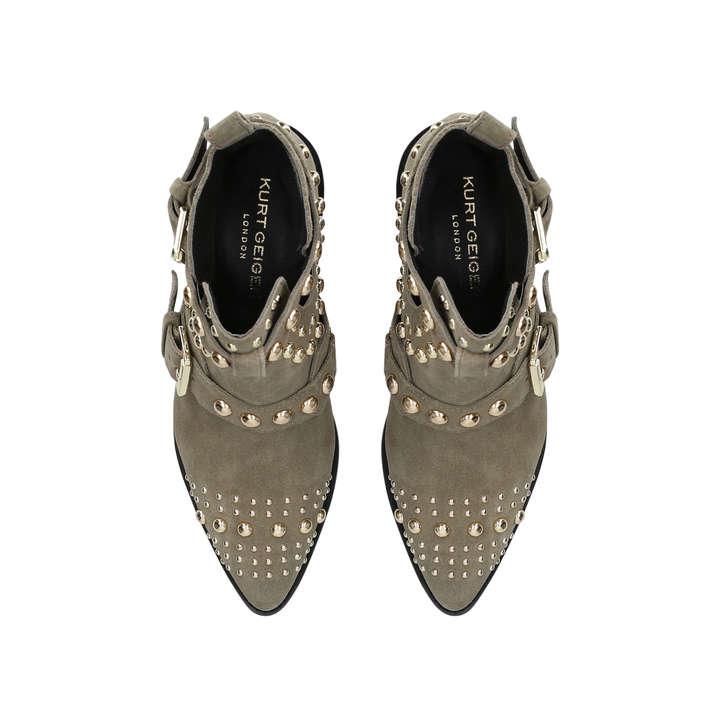 1823204414aaf Sybil Khaki Studded Block Heel Ankle Boots By Kurt Geiger London | Kurt  Geiger